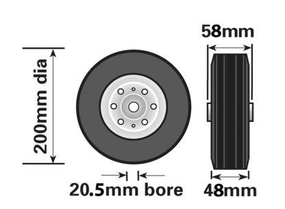 228_drawing MP228 200mm Steel Wheel For Jockey Wheels