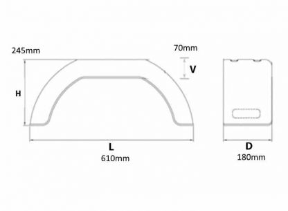 2705 A pair of 10inch Moulded Plastic dimensions diagram