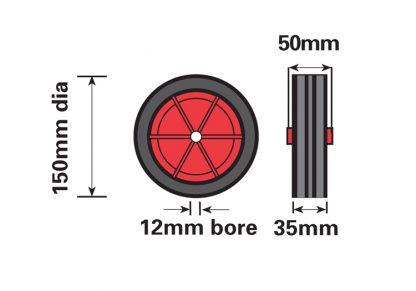 430-1 160mm Replacement RED Jockey Wheel diagram