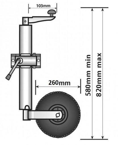 48mm Maypole Pneumatic trailer caravan medium duty jockey wheel and clamp diagram dimensions