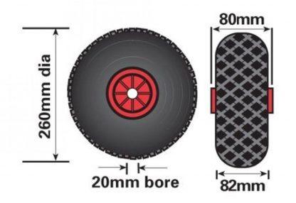 48mm Maypole Pneumatic trailer caravan medium duty jockey wheel and clamp diagram dimensions.