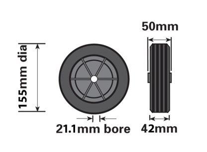 MP226 155mm Black Plastic Spare Wheel Fits MP225 Jockey Wheel diagram