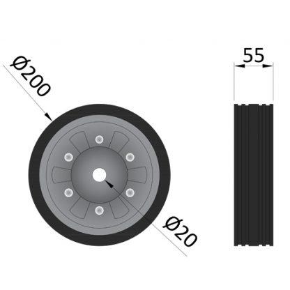 MP97216 Spare Wheel For MP9721 - MP9724 Jockey Wheels diagram