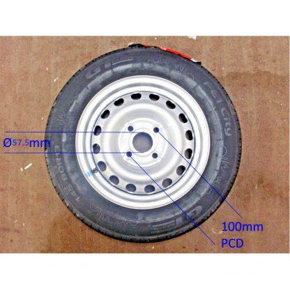 Trailer Wheel & Tyre 100mm PCD 145-80 13inch ANSSEMS BRENDERUP TEMA 03