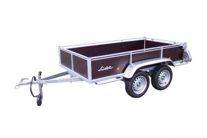 Wooden-26450-twin wheel trailer front side view