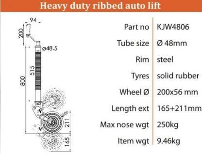 48mm Retractable Kartt Top Quality Heavy Duty Steel Ribbed Jockey Wheel diagram
