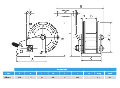 500 kg capacity winch with strap for Boat trailers diagram