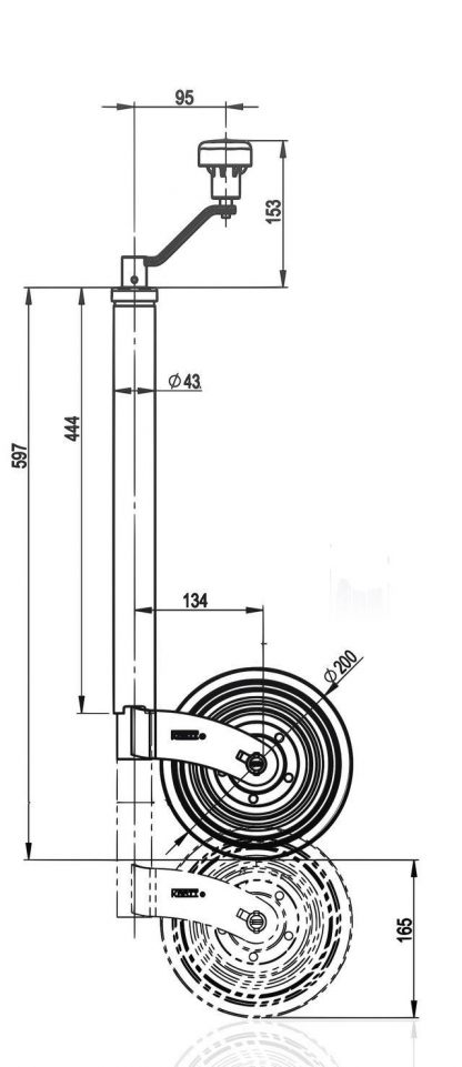 Bradley Doublelock Type Kartt 43mm Jockey wheel to fit older Ifor williams etc diagram