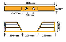 Heavy Duty Towbar Mounted Double Step diagram