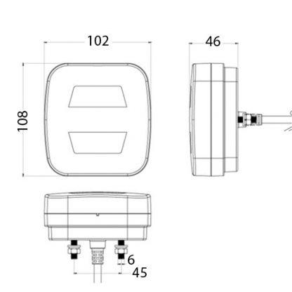 10-30V LED GLO Rear Combination Lamp 8813b_drawing